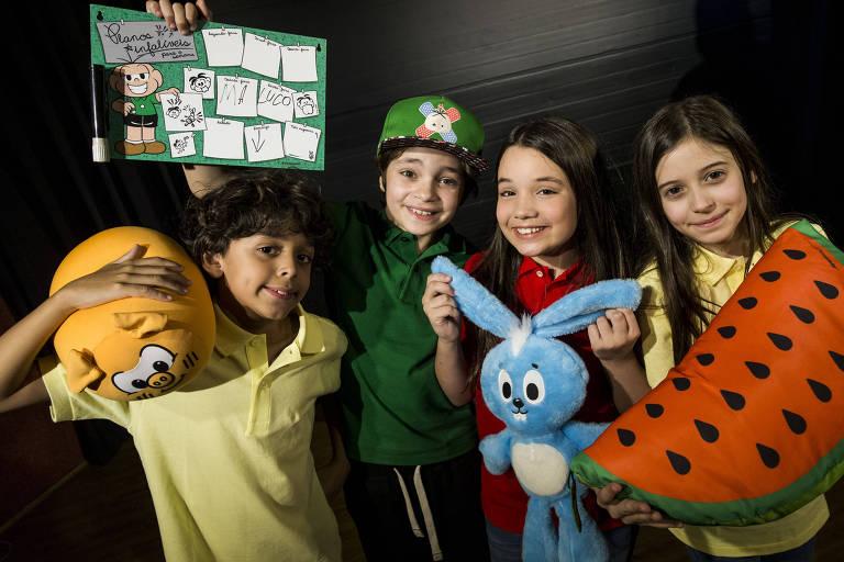Os atores Gabriel Moreira (Casc�o), Kevin Vechiatto (Cebolinha), Giulia Barreto (M�nica) e Laura Rauseo (Magali)