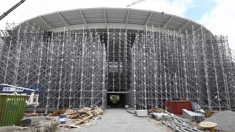 Vista geral da Arena Ekaterinburg, que receberá jogos da Copa do Mundo FIFA de 2018, na Rússia