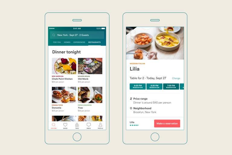 Arte de divulga��o do novo servi�o de reserva de mesas em restaurantes da Airbnb