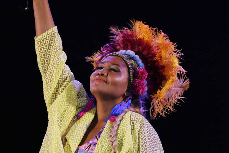 A cantora Gaby Amarantos durante apresentação na Virada Cultural, na Chácara do Jockey, zona sul