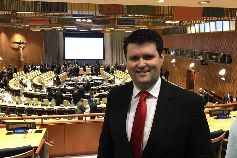 Cristian Wittmann na sede das Na��es Unidas em Nova York
