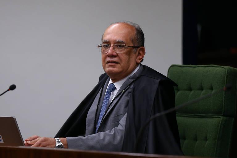 Ministro Gilmar Mendes durante sessão do Supremo, nesta quinta; Por 10 a 1, STF conclui julgamento para encaminhar denúncia contra Temer