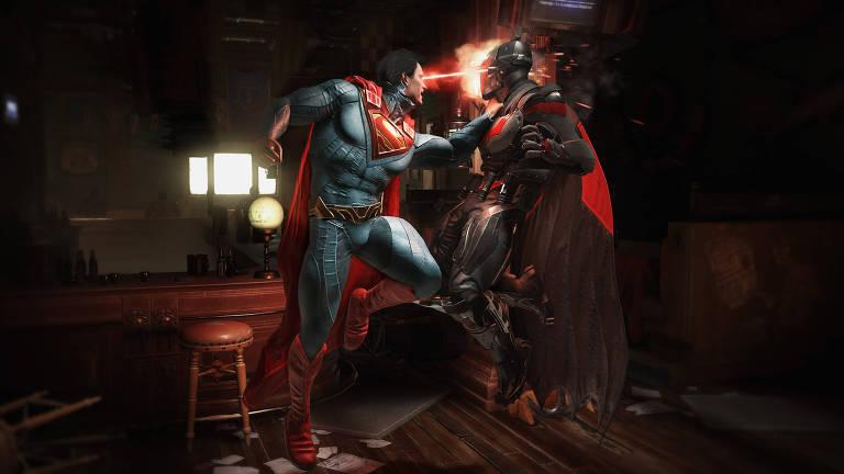 Superman enfrenta Batman em cena de luta do Injustice 2