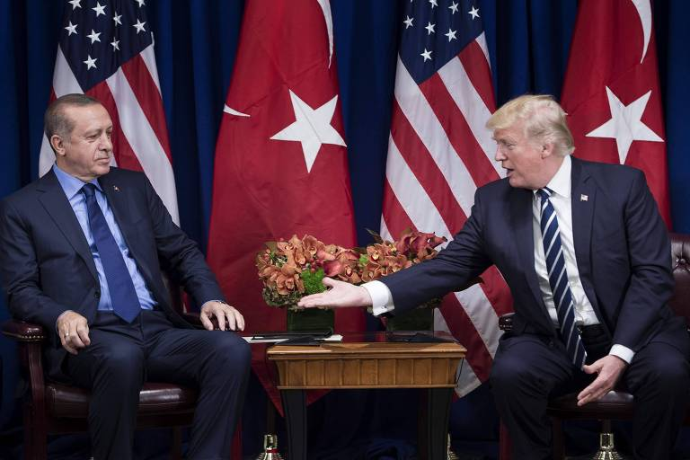 S President Donald Trump reaches to shake Turkey's President Recep Tayyip Erdogan's hand before a meeting at the Palace Hotel during the 72nd United Nations General Assembly on September 21, 2017 in New York City. / AFP PHOTO / Brendan Smialowski