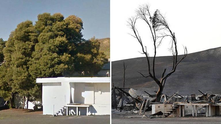 O antes e depois do fogo na Califórnia