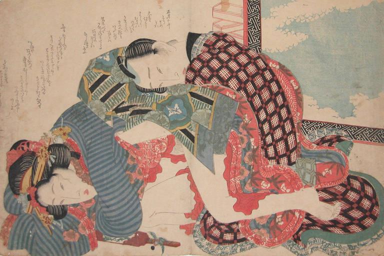 """Obra 'Dia de Ano Novo' (1835) do artista japonês Keisai Eisen, exposta na mostra """"Histórias da Sexualidade"""""""