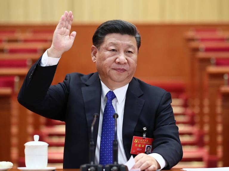 O presidente da China, Xi Jinping, preside uma das sessões prévias do Congresso do Partido Comunista – Lan Hongguang/Xinhua
