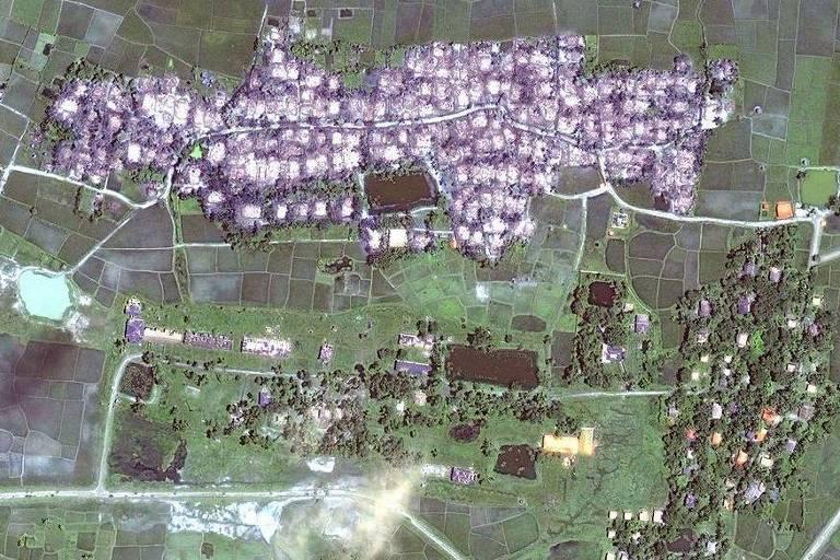 Imagem de sat�lite mostra destrui��o de vilarejo de Rohingyas em Maungdaw, no Estado de Rakhine, em Mianmar