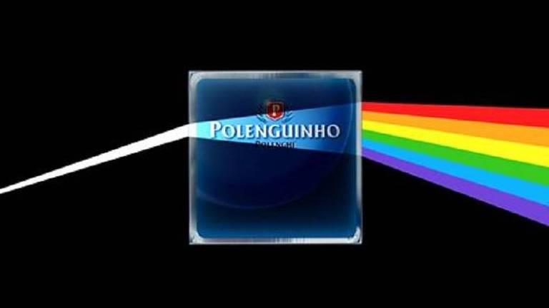 """Polenguinho inspirou a nova imagem da campanha no álbum """"The Dark Side of The Moon"""" do Pink Floyd"""