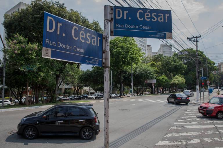 A rua Dr. César, em Santana, no ponto de tangência com a avenida Braz Leme