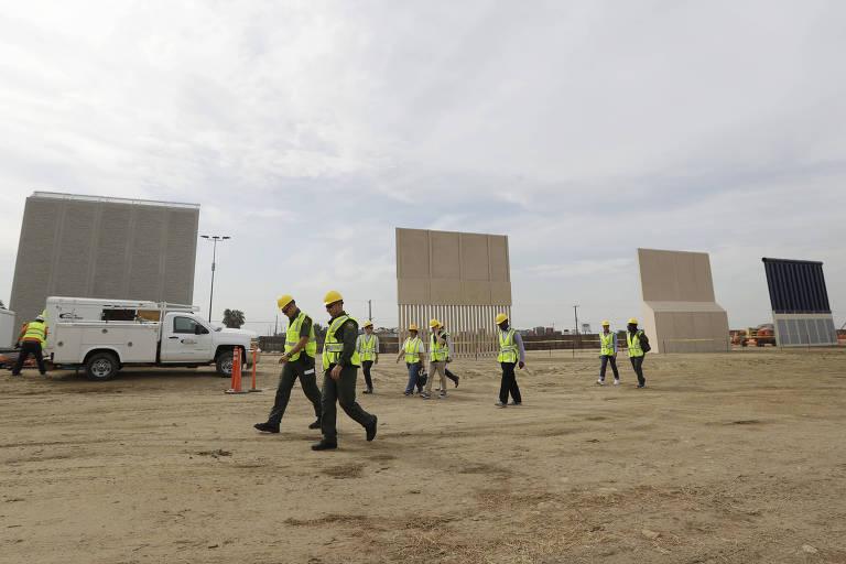 Os prot�tipos do muro de Trump erguidos em San Diego, na fronteira com o M�xico