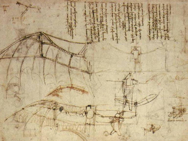 1488 - Intenso estudo da anatomia do voo dos pássaros o leva a projetar máquinas voadoras Compartilhar – Reprodução