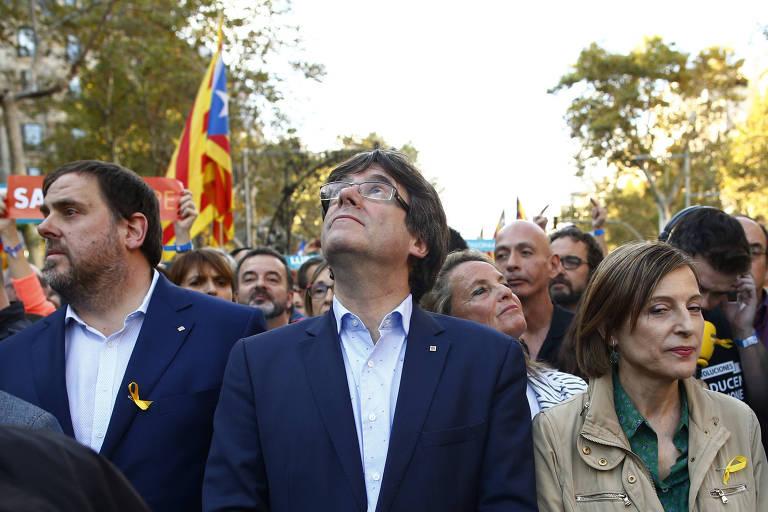 Protestos pela independência da Catalunha, em Barcelona