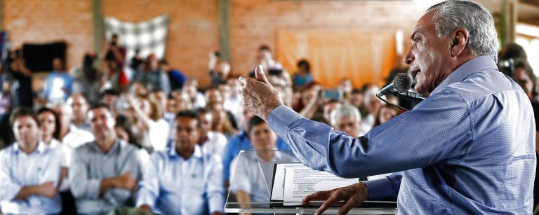 O presidente Michel Temer discursa em ato em Miranda (MS) – Beto Barata/PR/Divulgação