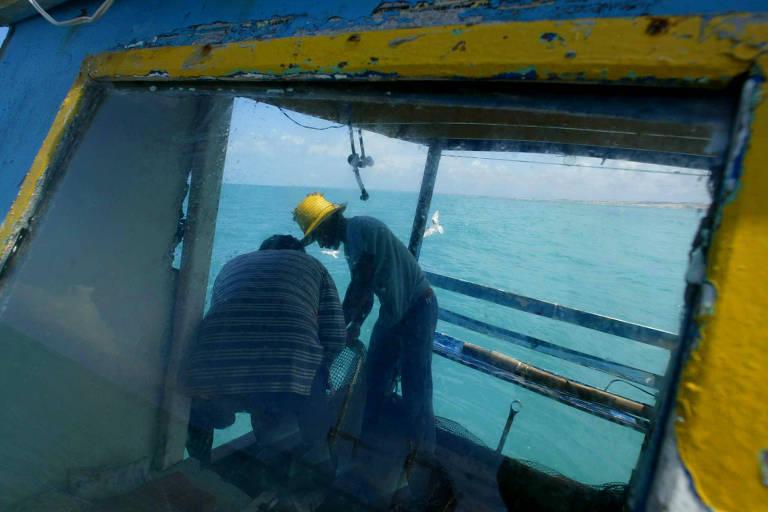 Pescador de camarão em barco
