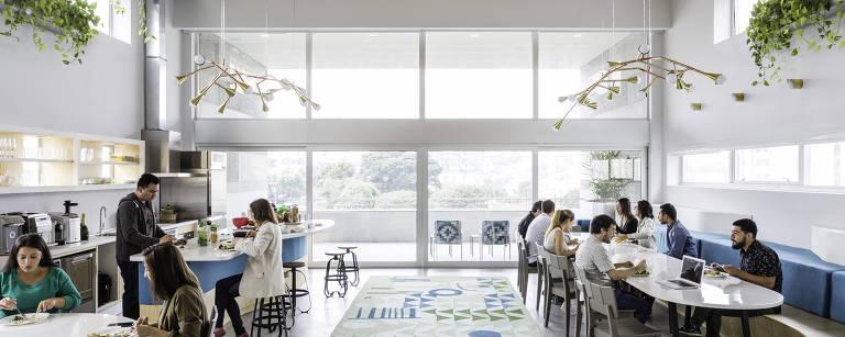 Escritório da Airbnb na Vila Madalena, em SP – Paulo Parente/Divulgação