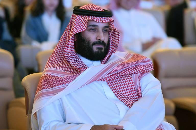 O pr�ncipe herdeiro saudita Mohammed bin Salman, em confer�ncia em Riad