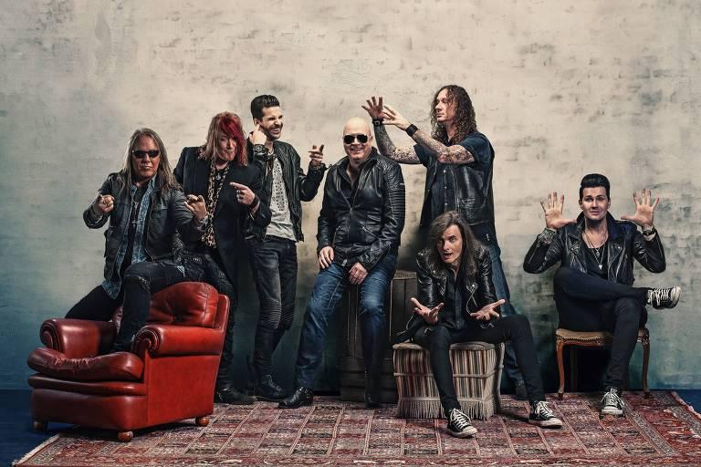 O grupo Helloween faz show no Espaço das Américas, em São Paulo