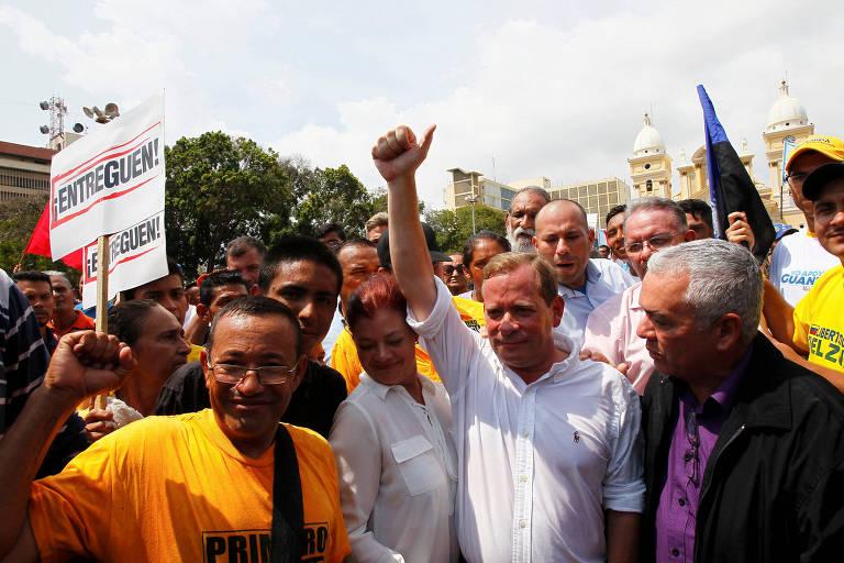 Juan Pablo Guanipa durante evento em Maracaibo, capital de Zulia