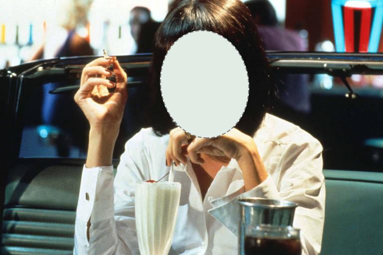 Recorte sobre o rosto de Uma Thurman em 'Pulp Fiction'