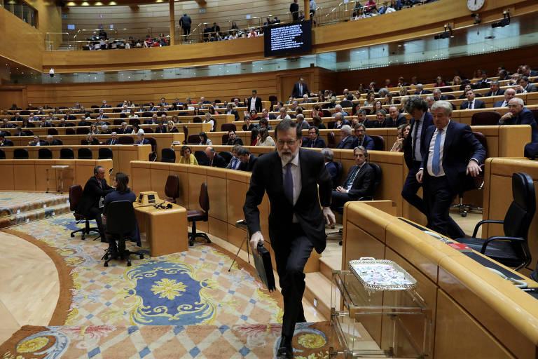 O premi� da Espanha, Mariano Rajoy, durante a sess�o do Senado que aprovou o uso do artigo 155