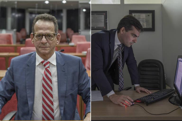 O presidente da Câmara de João Pessoa, Marcos Vinícius Nobrega (PSDB) (à esq.) e o vereador Lucas de Brito (PSL)