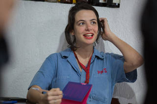Sofia Mariutti no lançamento do livro