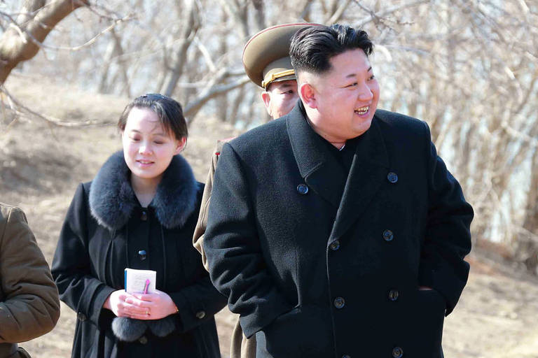 "This file photo taken on March 12, 2015 shows Kim Yo-Jong (L), vice department director of the Central Committee of the Worker's Party of Korea (WPK) and younger sister of North Korean leader Kim Jong-Un (R), inspecting the Sin Islet defence company in Kangwon province. With her elevation to North Korea's powerful politburo, leader Kim Jong-Un's little sister -- and chief image-maker -- has established herself as the most powerful woman in the nuclear-armed state's political hierarchy. / AFP PHOTO / KCNA VIA KNS / STR / - South Korea OUT / REPUBLIC OF KOREA OUT ---EDITORS NOTE--- RESTRICTED TO EDITORIAL USE - MANDATORY CREDIT ""AFP PHOTO/KCNA VIA KNS"" - NO MARKETING NO ADVERTISING CAMPAIGNS - DISTRIBUTED AS A SERVICE TO CLIENTS THIS PICTURE WAS MADE AVAILABLE BY A THIRD PARTY. AFP CAN NOT INDEPENDENTLY VERIFY THE AUTHENTICITY, LOCATION, DATE AND CONTENT OF THIS IMAGE. THIS PHOTO IS DISTRIBUTED EXACTLY AS RECEIVED BY AFP. / ORG XMIT: TOK865"