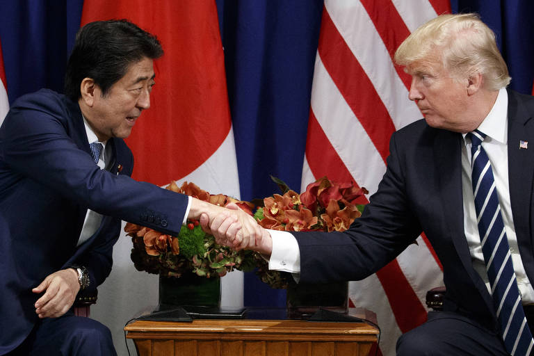 President Donald Trump meets with Japanese Prime Minister Shinzo Abe at the Palace Hotel during the United Nations General Assembly, Thursday, Sept. 21, 2017, in New York. (AP Photo/Evan Vucci) ORG XMIT: NYEV137