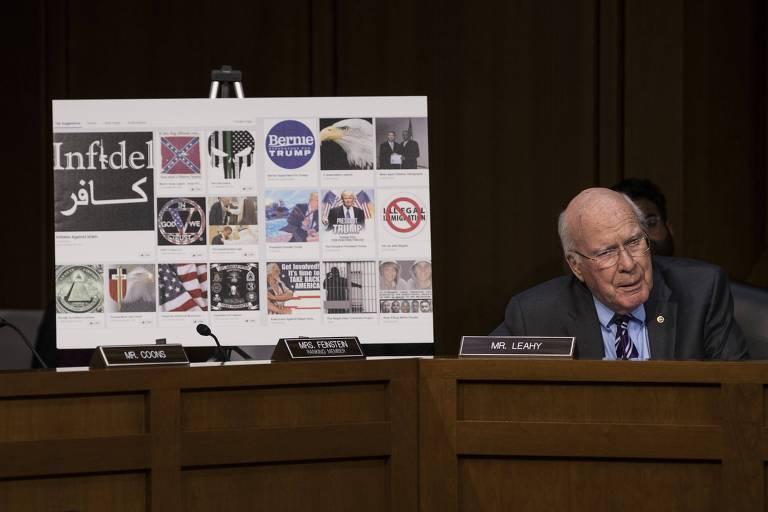 Senador Patrick Leahy mostra exemplos de propaganda russa em reuni�o com empresas de tecnologia