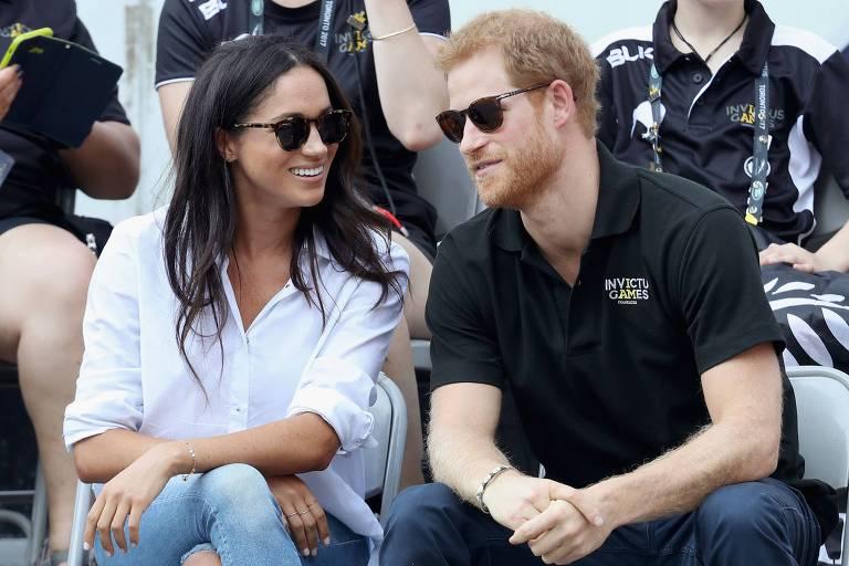 """O príncipe Harry e a namorada Meghan Marklee no """"Invictus Games"""""""