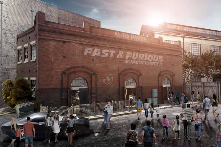 Simulação da entrada da atração Fast and Furious - Recharged, na Universal Studios Orlando
