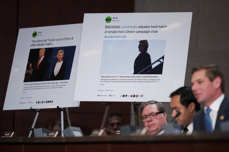 Deputados questionam representantes do Facebook, Twitter e Google sobre anúncios russos em audiência da Comissão de Inteligência da Câmara dos Estados Unidos