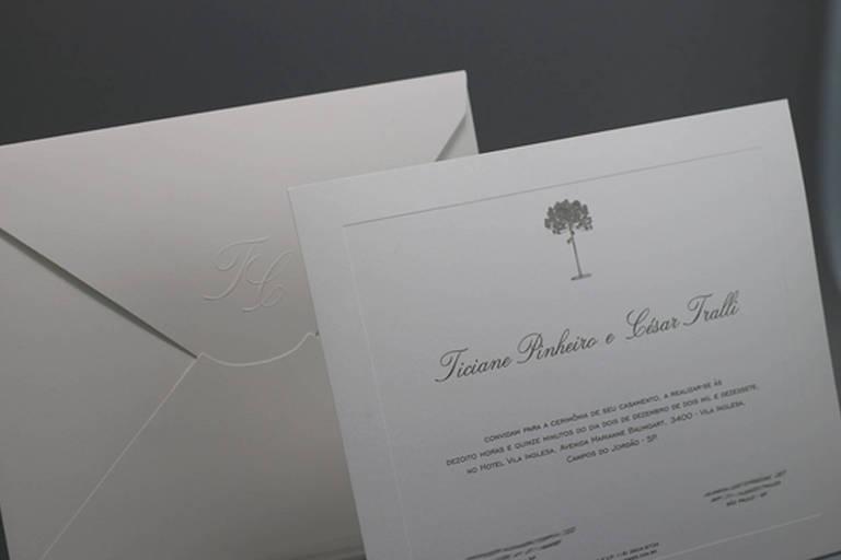 Convite de casamento de Ticiane Pinheiro e César Tralli