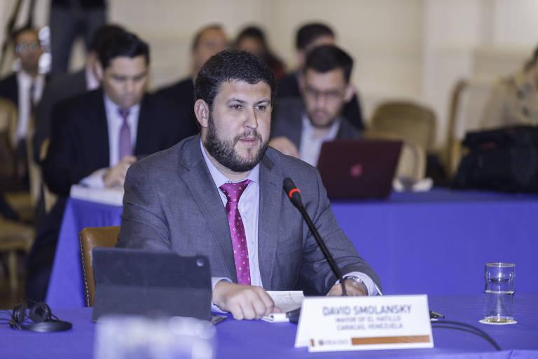 O oposicionista David Smolansky durante sess�o da OEA em Washington (EUA)