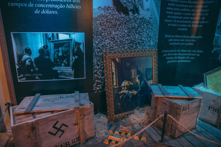 Reprodução de quadro e barras de ouro ilustram a pilhagem de obras de arte e propriedades particulares de judeus que enriqueceram o regime nazista