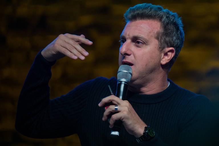 O apresentador Luciano Huck durante palestra realizada na capital paulista
