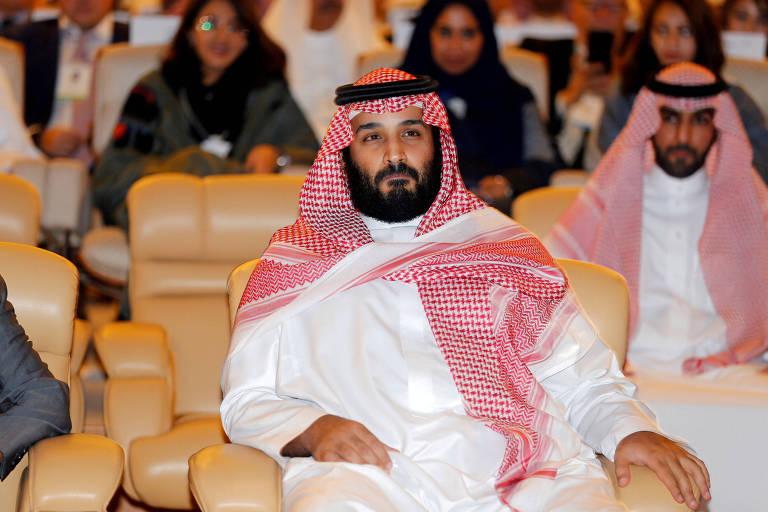 O pr�ncipe saudita Mohammed bin Salman, 32, assiste a evento econ�mico em Riad