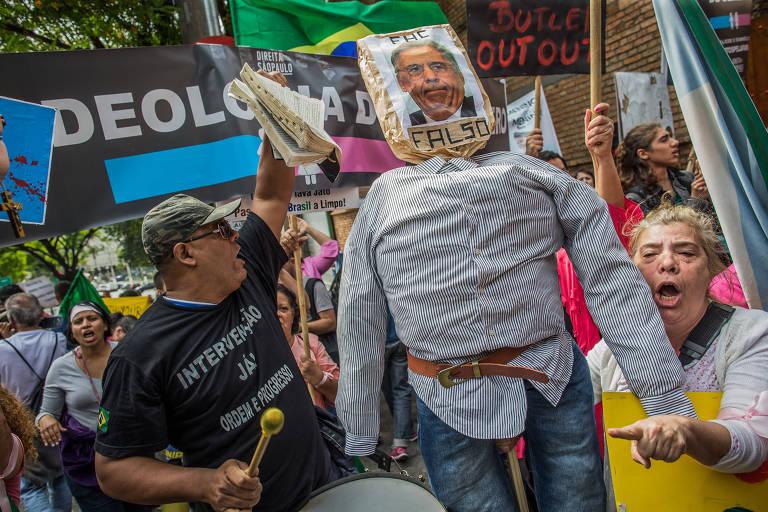Protesto contra Judith Butler em S�o Paulo