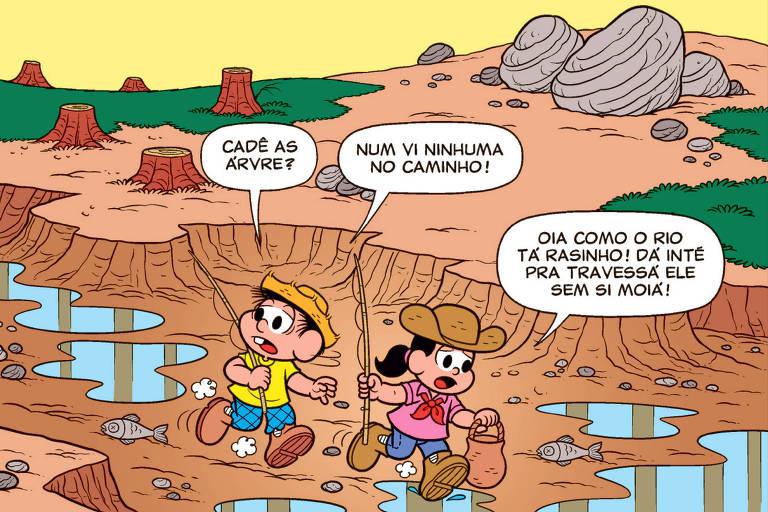 """Parte da história em quadrinho """"Chico Bento vai ao Pantanal"""""""