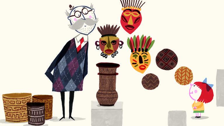 """Ilustração do livro """"A Pequena Gilda no Museu: Descobrindo a Arte Brasileira"""""""