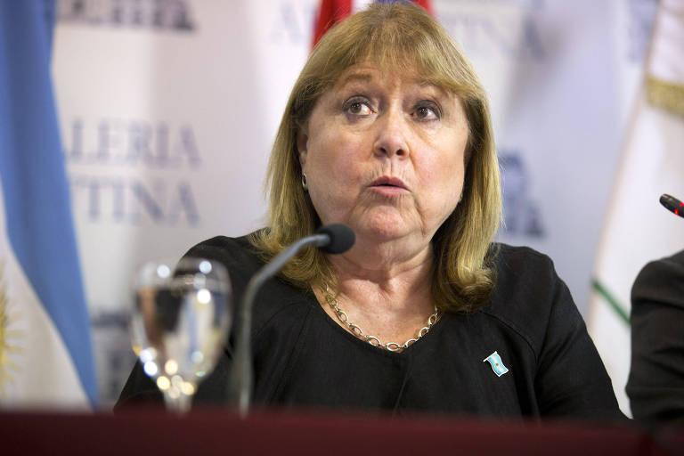 A então chanceler da Argentina Susana Malcorra durante entrevista coletiva em Buenos Aires, em 2017
