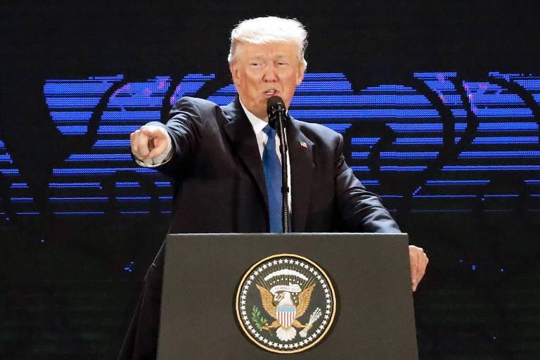 Donald Trump durante seu discurso no F�rum �sia-Pac�fico, realizado no Vietn�