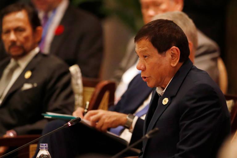 O presidente filipino Rodrigo Duterte durante encontro de prepara��o para o f�rum �sia-Pac�fico