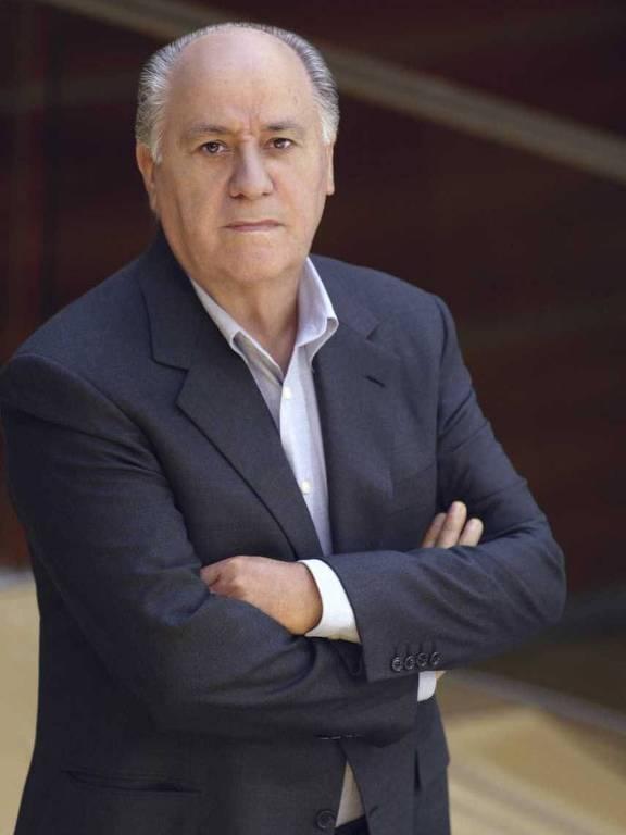 Espanhol Amancio Ortega, cofundador do grupo Inditex ---que detém a rede de lojas Zara---, em Madri (Espanha); ele está em quarto na relação, com US$ 64,5 bi