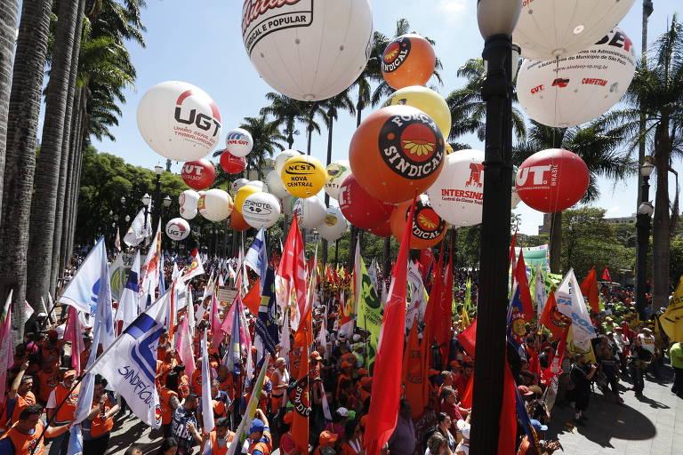 Protesto de centrais sindicais contra a reforma trabalhista