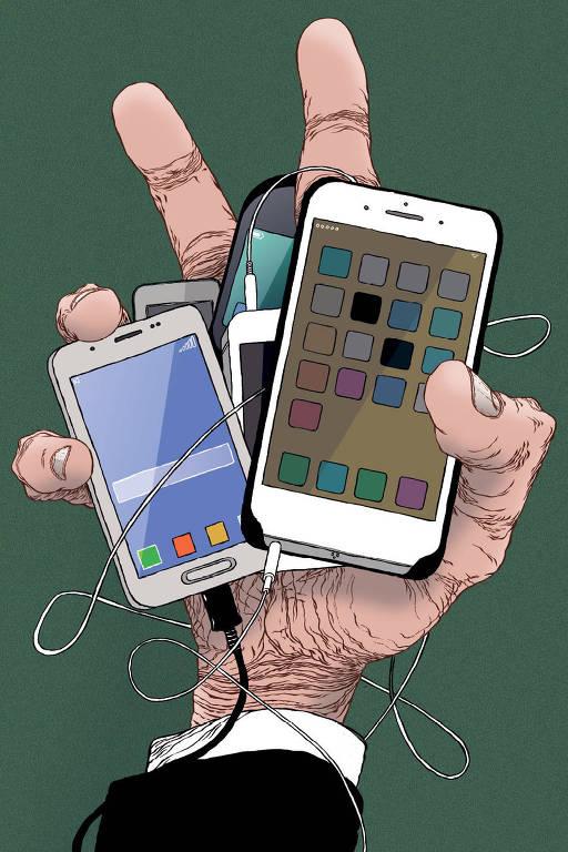 mão segurando vários celulares – Luciano Salles