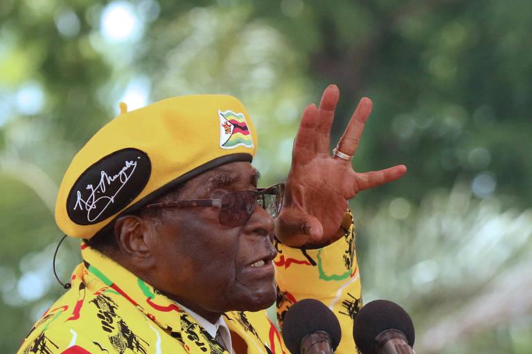 O ditador do Zimb�bue, Robert Mugabe, em com�cio em Harare