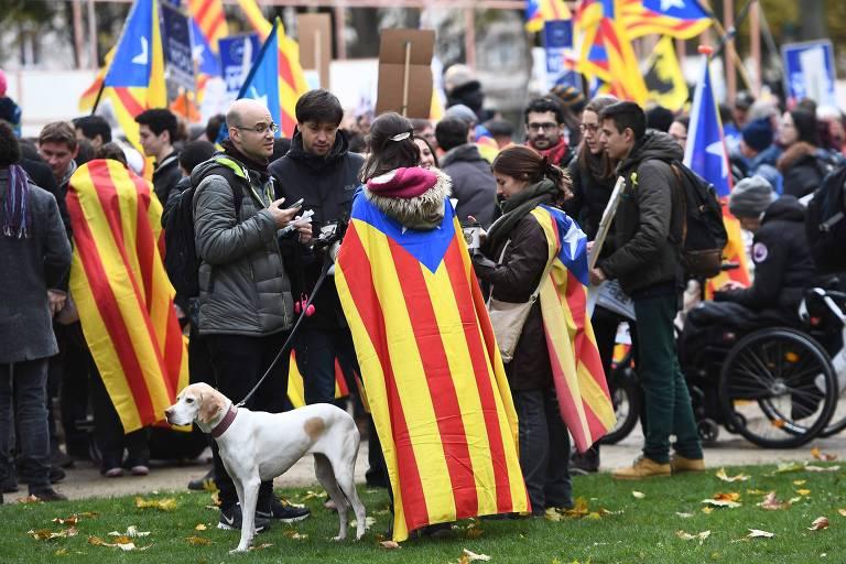 Manifestação pró-Catalunha em Bruxelas