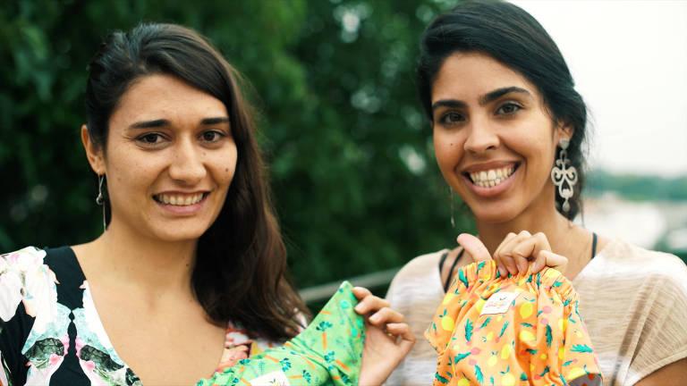 Ana e Bela exibem as fraldas da Coleção Bela Gil, parceria com a Morada da Floresta
